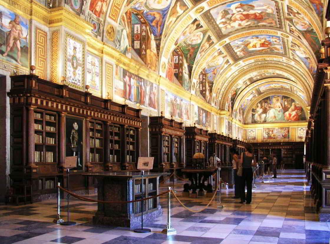 de bibliotheek van Escorial in Spanje