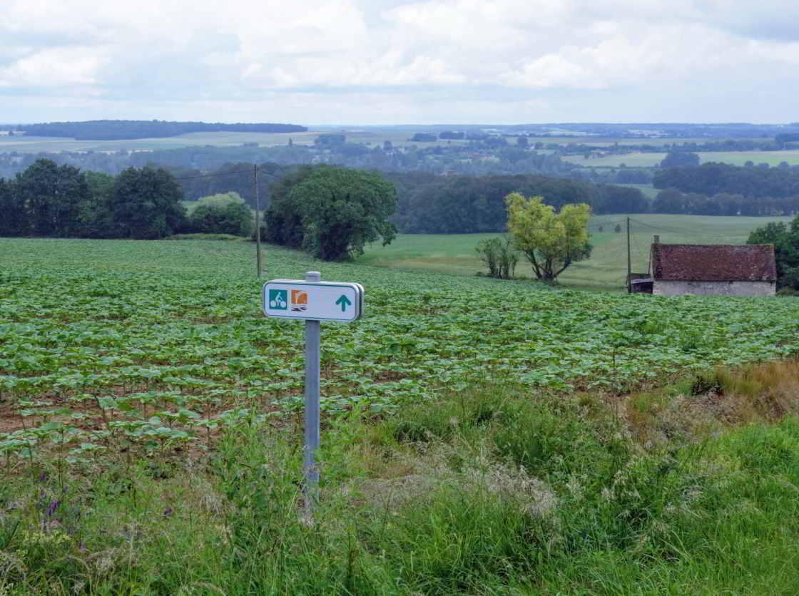 Bordje langs de l'Indre à vélo