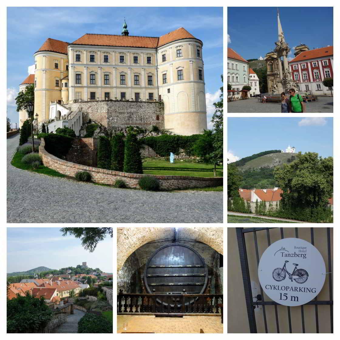 collage van beelden wijnstadje Mikulov