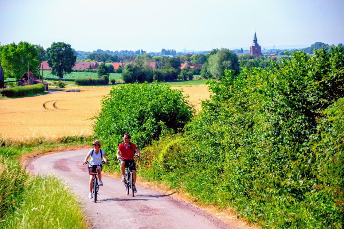 stel op de fiets in Noord-Frankrijk
