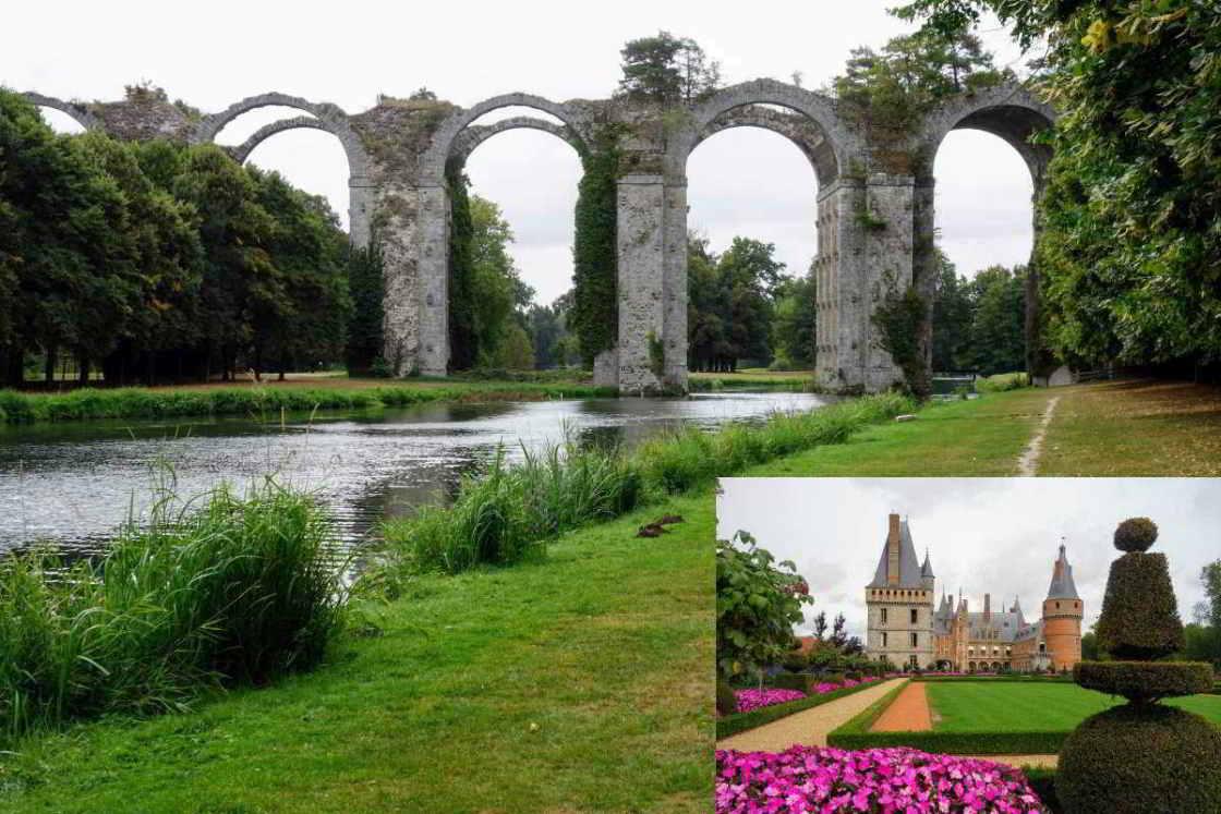 aquaduct en achterzijde van het kasteel van Maintenon