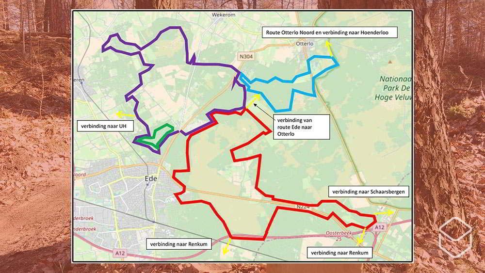 Kaartje van de mountainbikeroutes in Ede