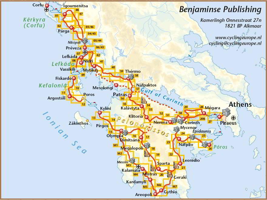 Kaart van rondje Griekenland door Paul Benjaminse