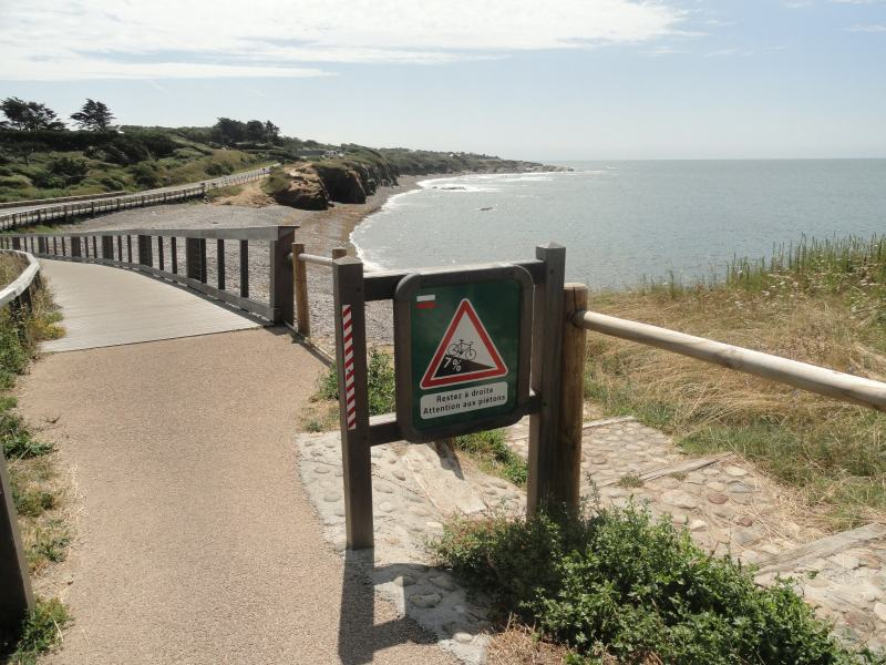 Routepaaltje langs de Vélodyssée, een route langs de Franse kust