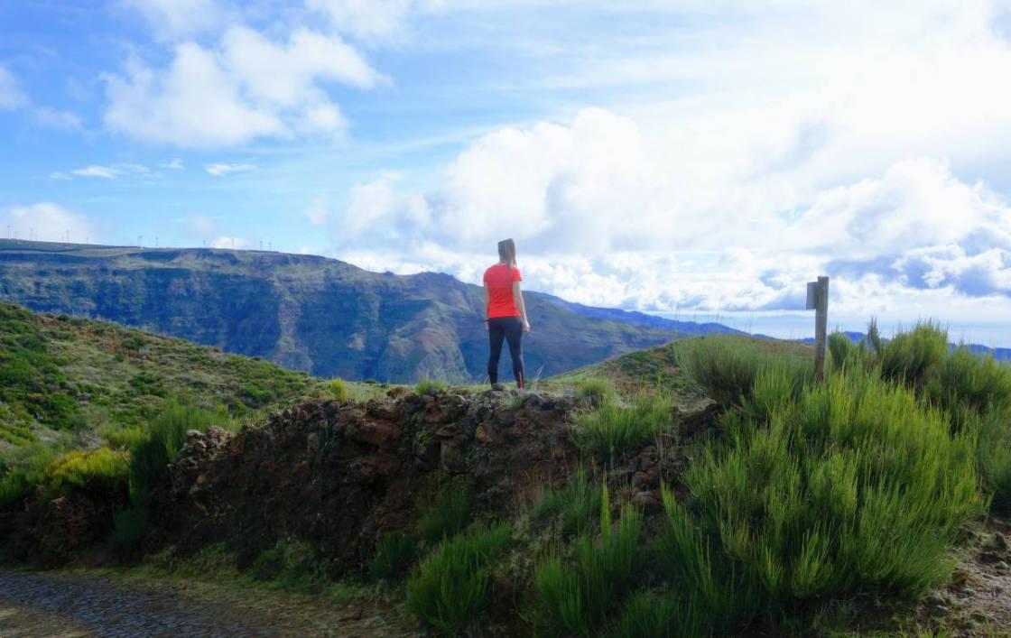 wandelaar kijkt naar de bergen